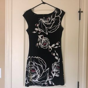 WHBM mini dress black and white w red accents M